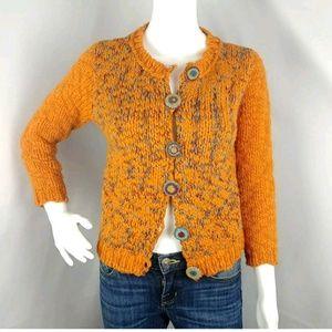 Free People Wool Knit Cardigan Sweater M Med Orang